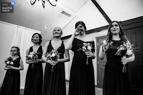 Normandy Farms Wedding Ceremony Photography | Bridesmaids watching the bride come down the aisle.
