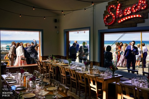 Wedding Photo from Harry's Shack Portstewart | The afternoon reception from inside Harry's Shack