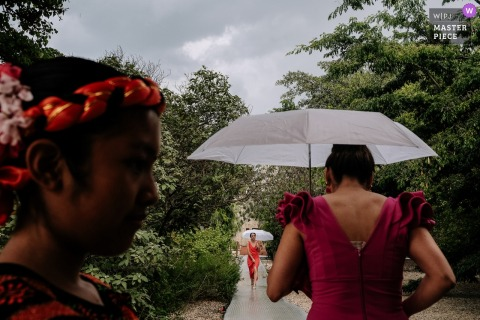 Wedding guests walk down a pathway carrying umbrellas on a rainy day in Santo Domingo de Guzman in this wedding picture created by a Oaxaca, Mexico documentary photographer.