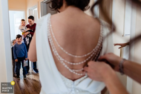Medley, Dublin Photographer - Nieces and nephews see bride getting dressed before an Ireland wedding ceremony