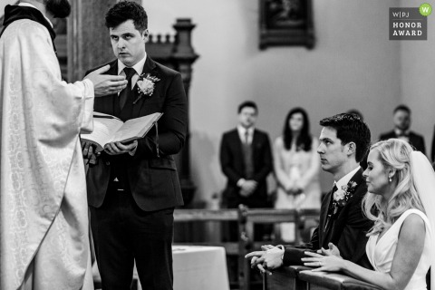 Meath, Ireland wedding reportage image from the church of the brothers in prayer
