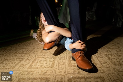 Buford Community Center Wedding Reception Photograph - Dragging kids on the dance floor