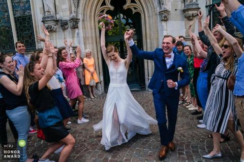 UK wedding reportage photo of the couples Explosive Exit