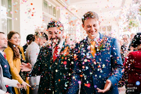 Bristol ZOO, Bristol, UK post ceremony photo of the confetti run