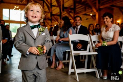 Stoneyman Ranch, Luray, Virginia Wedding Photography | The ring bearer walks proudly down the aisle