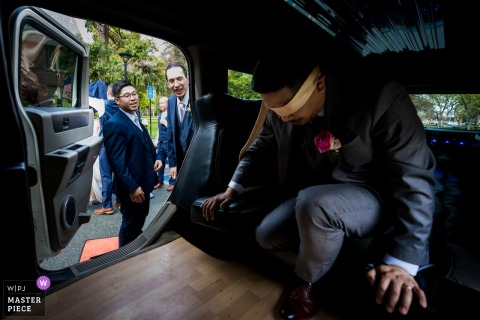 San Jose CA wedding photography. Before the first look, the groom was covered over his eyes.