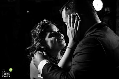 Hacienda del Cardenal, Toledo (Spain) wedding venue photos | Romantic looking with tear at bridal dance