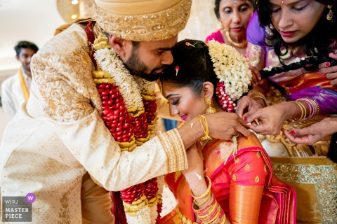 Oshwal Temple, London Wedding Photograph of Thali moment