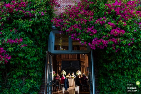 Kohl Mansion, Burlingame wedding venue photography from outside, looking in.