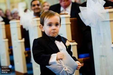 Wayne United Methodist Church, PA Photography - Little man was not feeling coming down the aisle by himself.