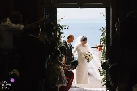 Vico Equense - Santa Maria delle Grazie Wedding Ceremony Photographer - The bride and her father were entering in the church
