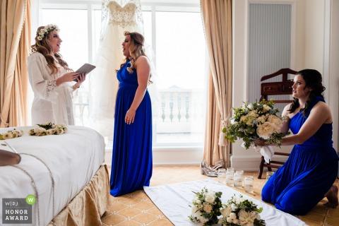 Powerscourt House, Wicklow, Ireland Wedding Venue Photo - Opera singer bride and bridesmaid practise pre-ceremony