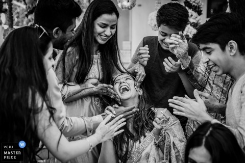 Mumbai Wedding Photography of Haldi Happiness in Black and White