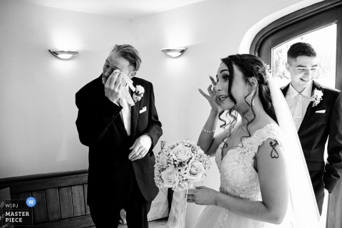 Bordesley Park Wedding Photos of the Father crying after seeing his daughter in her wedding dress