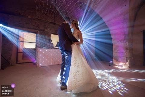 Aix en Provence, France , Moulinde la recense Wedding Photos - First Dance image under great lights