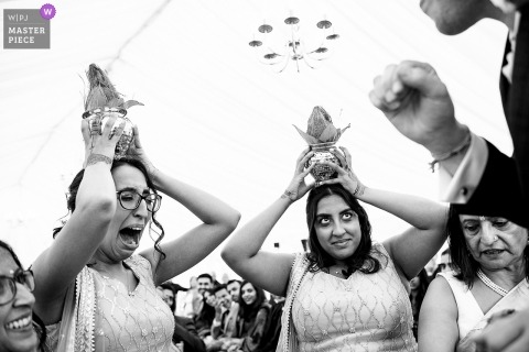 Micklefield Hall, Hertfordshire Wedding Reportage Photography | Indian wedding ceremony in black and white