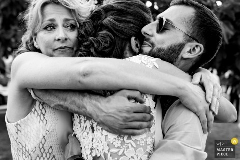 Masseria Don Luigi Family Hug Photo on Wedding Day.