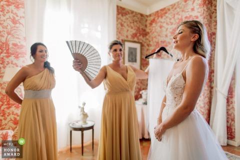 Bastide de Puget, France wedding venue photo | Bridesmaids getting ready with the bride