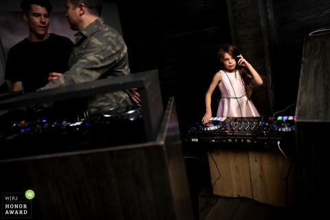 "7908 Aspen CO, wedding venue picture | The bride's daughter jumped on the turn tables as ""DJ Rainbow."""