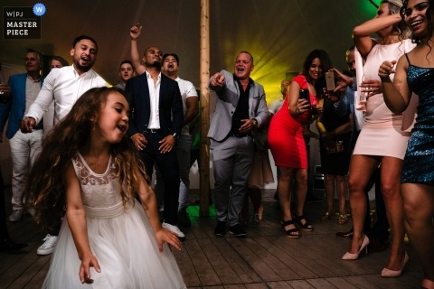 Golf Club of Mean Wedding Reception Venue Photos | Little girl owns the dance floor while the crowd cheers for her
