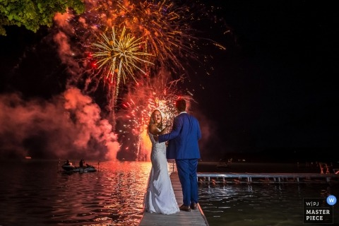 Little Traverse Lake, Traverse City, MI Wedding Photography at Night | Father's surprise gift to the bride and groom!