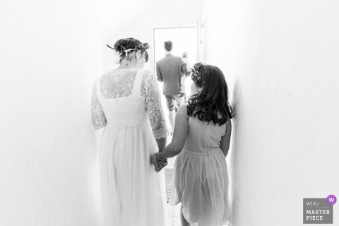 Germany Wedding Photography | Couple with their kids getting home from the ceremony