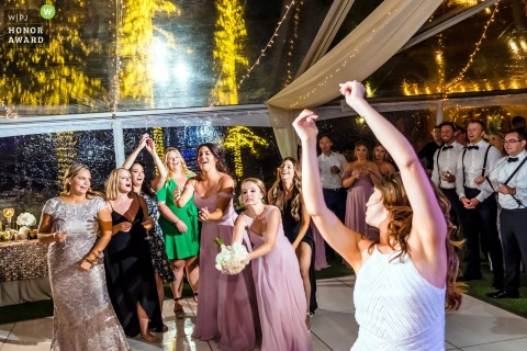 Resort at Squaw Creek Bouquet toss | Wedding reception venue action photography