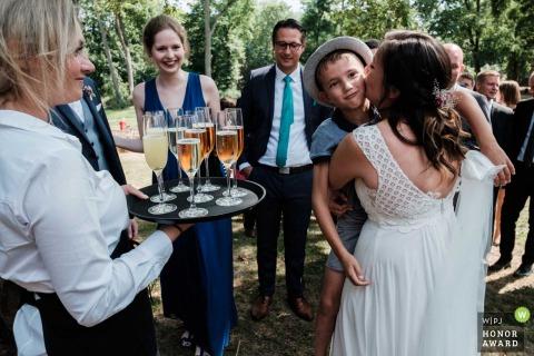 Rittergut Orr, Cologne Germany wedding venue photo   Bride during congratulations