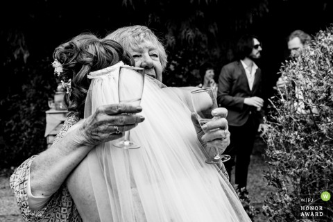 Colehayes Park Bride hugging grandmother | Wedding day photography with generations