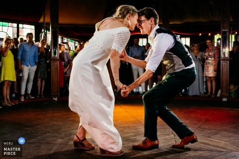Wedding Party Venue Photography, Camping de Lievelinge, Vuren, The Netherlands - The bride and groom during first dance