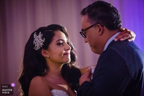 Wedding Photography from The Ballroom at the Ben | Bride and daddy dance. 1 tear rolling down her cheek.