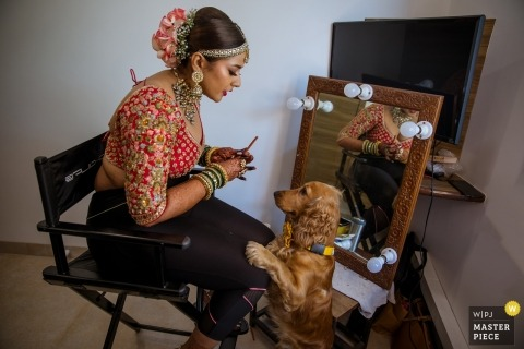 Mumbai wedding photography showing doggie love - Maharashtra bride images from getting ready session before wedding