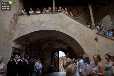 Certaldo, Tuscany Wedding ceremony photography of the bride arriving