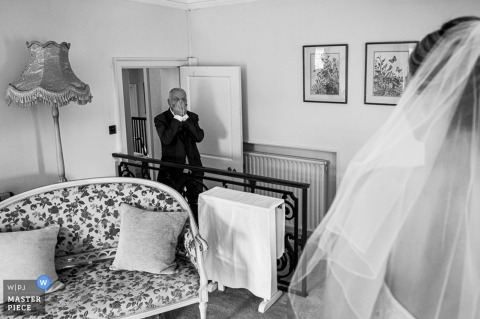 Birtsmorton Court, Malvern, UK Wedding Reportage Photographer | Dad see the Bride for the first time.