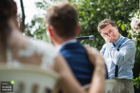 Photo of Agen, France wedding tears during outdoor ceremony