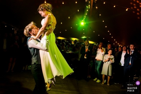 Wijnkasteel Haksberg Wedding Party Photography - Bride, groom, dance, lights, guests, reception