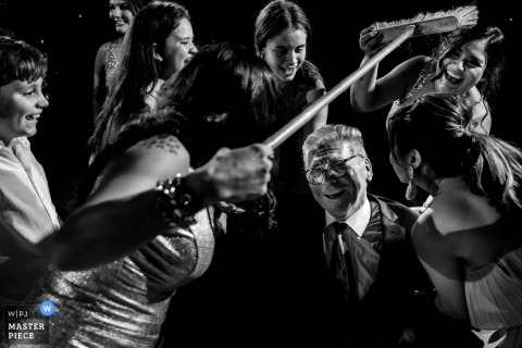 Casa Miroquesada black and white reception image on the dance floor in Lima, Peru