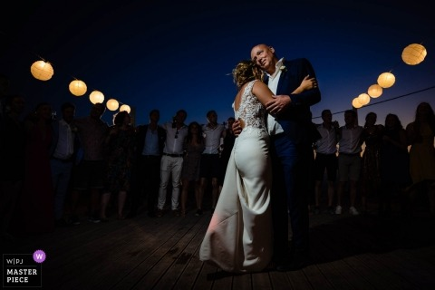 Zakynthos wedding photography of bride and groom during first dance