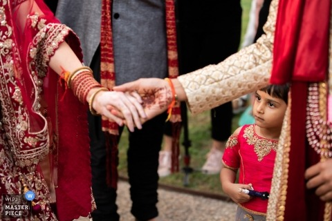 Grand Est Ceremony Photography on Wedding Day - Kid, hand, bride, groom, girl, children