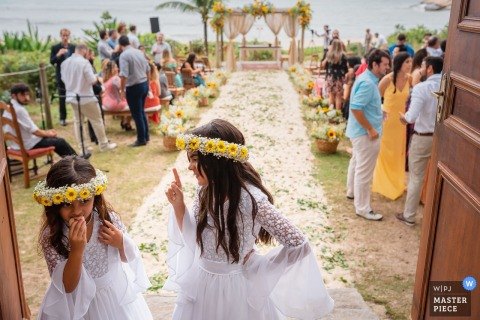 Grumari Beach Garden - Rio de Janeiro - Brazil Wedding Photography at Outdoor, Beach Ceremony | Eat fast, kids, children, flower girls