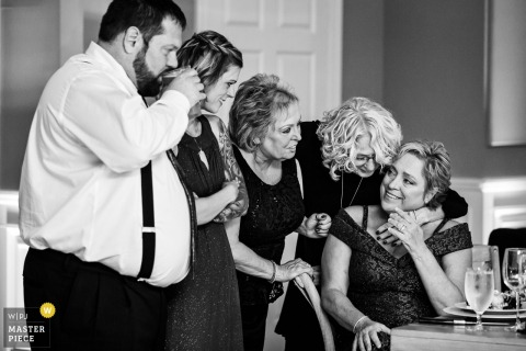 Bear Brook Valley New Jersey photo of the mother of the bride being comforted by family during the father bride dance
