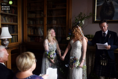 Scotland wedding reportage photo from the Stonefield Castle Hotel, Argyll | Emotional moment during the ceremony
