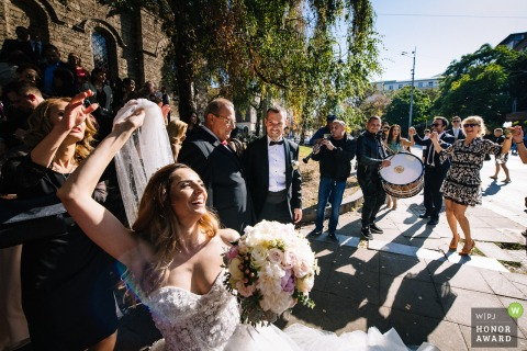 St. Nedelya Church, Sofia wedding photo of the bride In front of the church