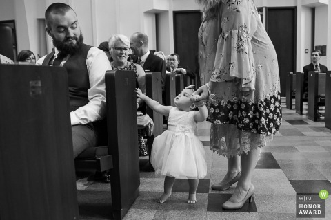 Holy Trinity Episcopal Church in Decatur GA Wedding Photo | Baby walking up aisle