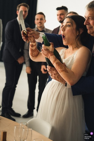 L'Eloi in Montreal Canada wedding venue photographer — bride managed to open the champagne with a knife (Part II)