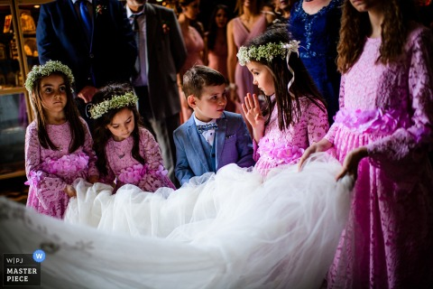 wedding photography from Varna Cathedral, Varna, Bulgaria - The little bridesmaids and the veil