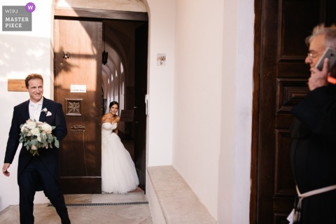 Ravello, Italy wedding photography | Bride and Groom during walk after ceremony