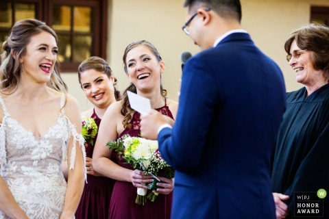 Laughter erupts during Hotel Du Village, New Hope, Pennsylvania wedding ceremony | PA Photography