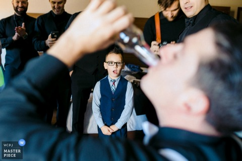 Wychmere Beach Club, Cape Cod, MA wedding photography | Boy looking at some weird adults wedding traditions