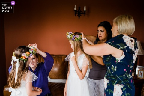 England wedding reportage photographer for West Sussex	| Flower crown conundrum!